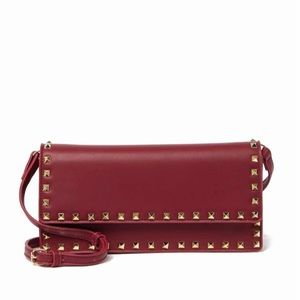 Pink Haley Faux Leather Studded Crossbody Clutch
